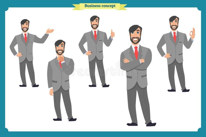 套男性面部情感 平的漫画人物 在衣服和领带的商人 圆的象的商人 向量 向量例证