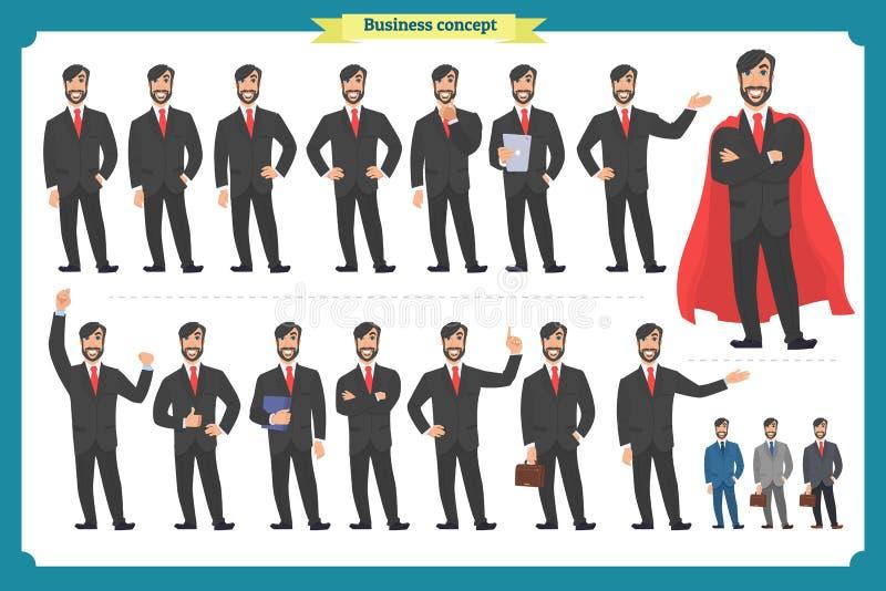 套男性面部情感 平的漫画人物 在衣服和领带的商人 圆的象的商人 向量 库存例证