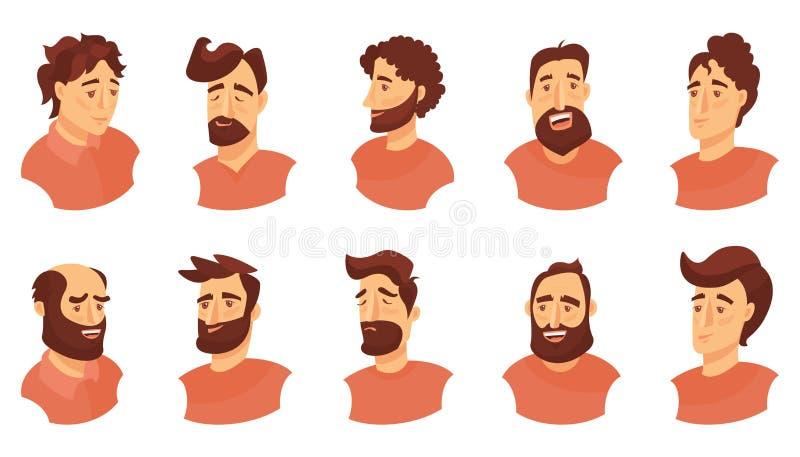 套男性面部情感 年轻人用不同的表示的emoji字符 在动画片样式的传染媒介例证 库存例证