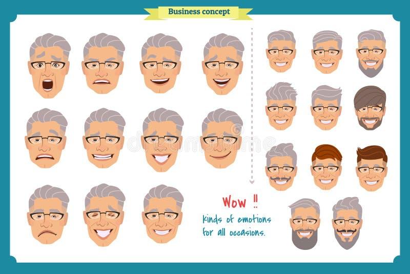套男性面部情感 年轻人用不同的表示的emoji字符 库存例证
