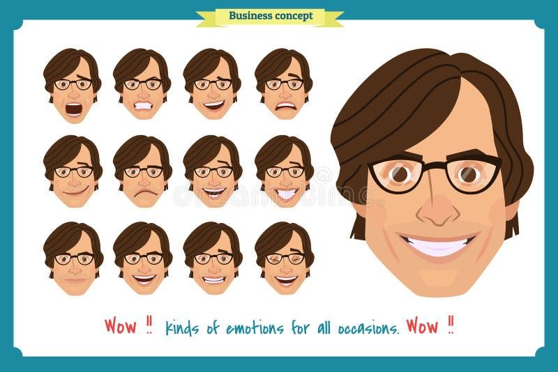 套男性面部情感 年轻人用不同的表示的emoji字符 皇族释放例证