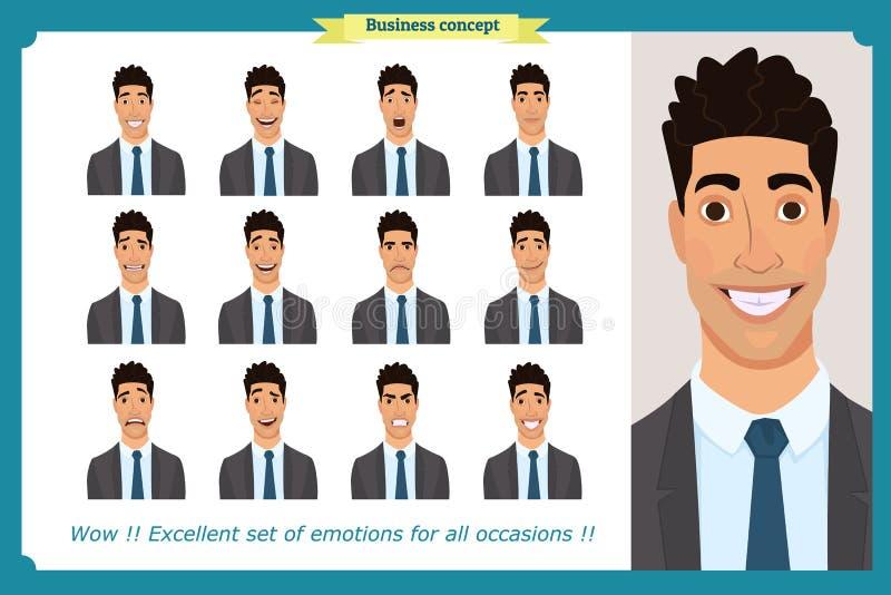套男性面部情感 用不同的表示的商人字符 平的传染媒介 皇族释放例证