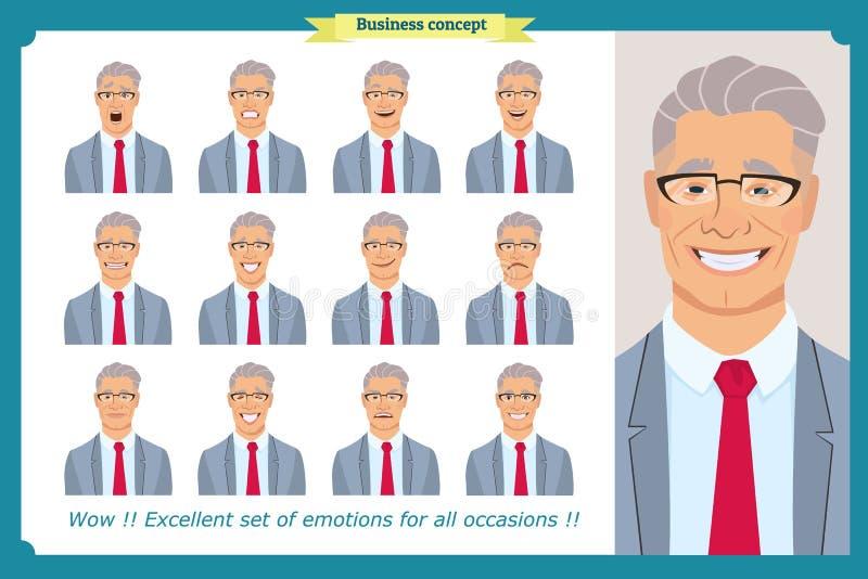 套男性面部情感 用不同的表示的商人字符 平的传染媒介 向量例证