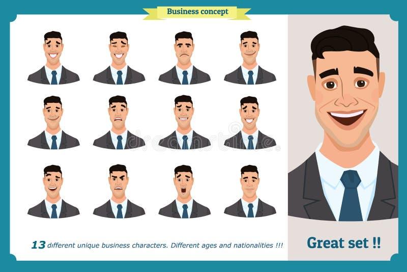 套男性面部情感 用不同的表示的年轻商人字符 在动画片样式的传染媒介平的例证 向量例证