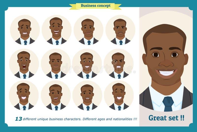 套男性面部情感 用不同的表示的黑美国人emoji字符 在动画片样式的传染媒介例证 向量例证