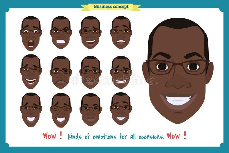 套男性面部情感 黑美国人emoji 向量例证