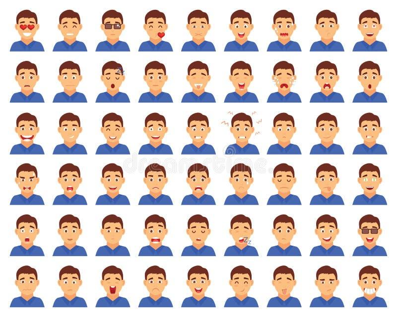 套男性emoji字符 动画片样式情感象 用不同的表情的被隔绝的男孩具体化 平面 库存例证