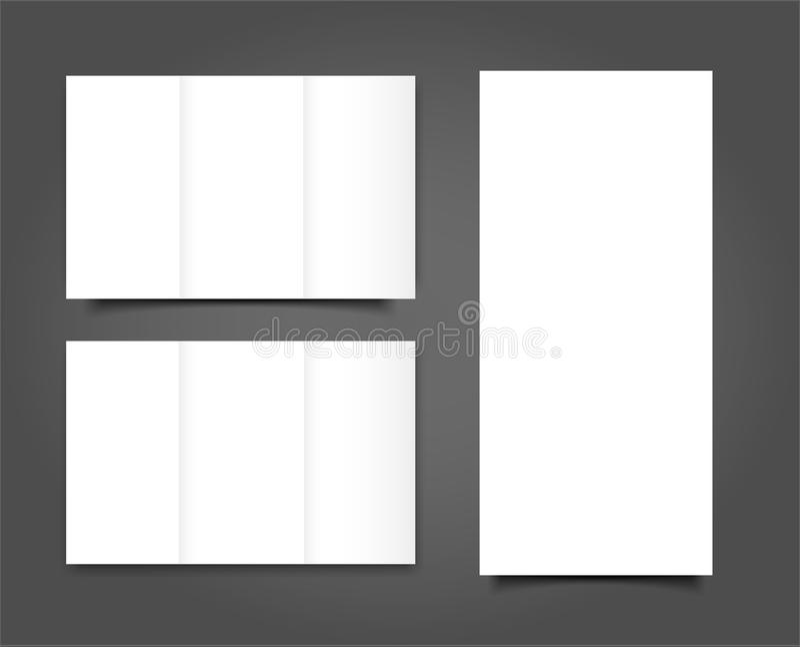 套画象盖子的空白的三部合成的小册子嘲笑 查出 向量例证