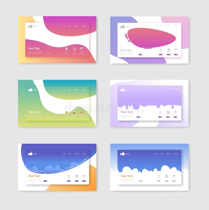 套登陆页面设计的网站模板 容易流动发展的设计编辑和定做 库存例证