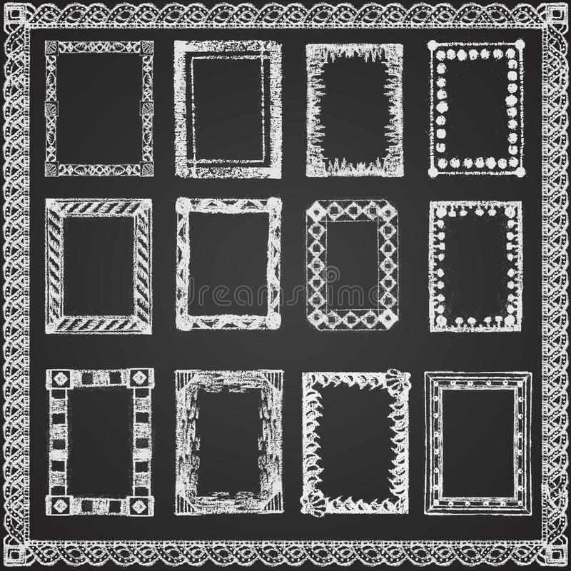 套白垩绘了在一个黑黑板的框架 向量例证