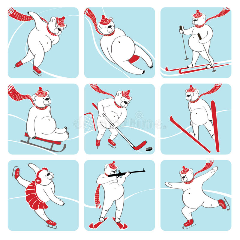 套白熊演奏冬季体育。幽默不适 向量例证