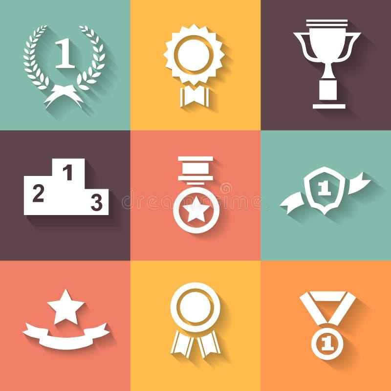 套白色传染媒介奖成功和胜利 向量例证