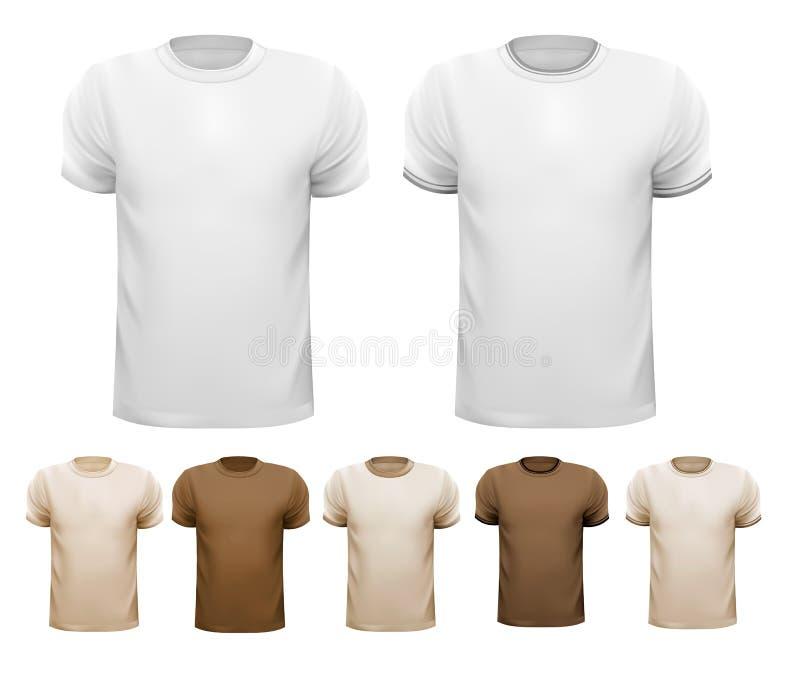套白色和五颜六色的男性衬衣。 库存例证