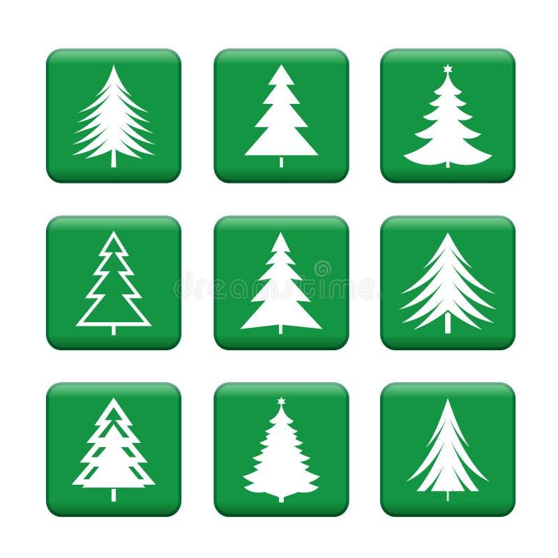 套白色圣诞节树 按钮绿色向量 皇族释放例证