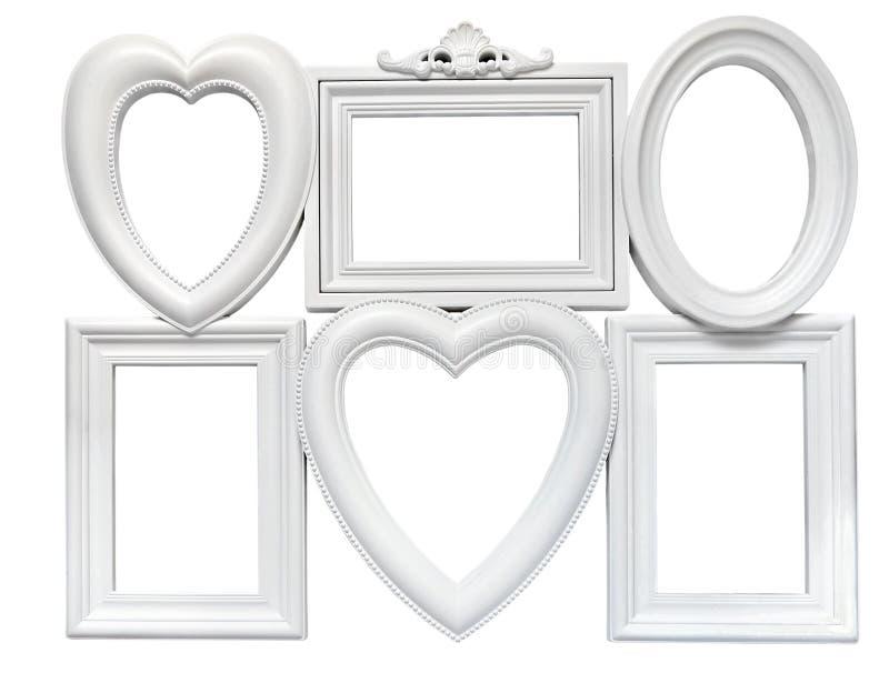 套白色塑料焊接了照片的框架 免版税库存照片