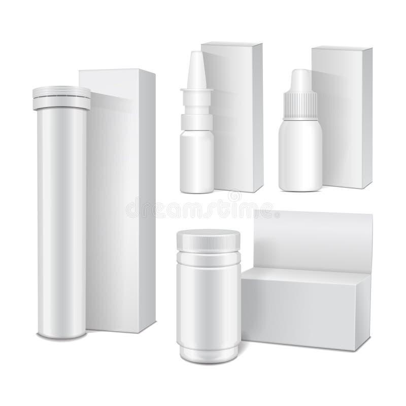 套白色塑料瓶传染媒介模板有盖帽的医学的,药片,选项,浪花 包装的假装  皇族释放例证