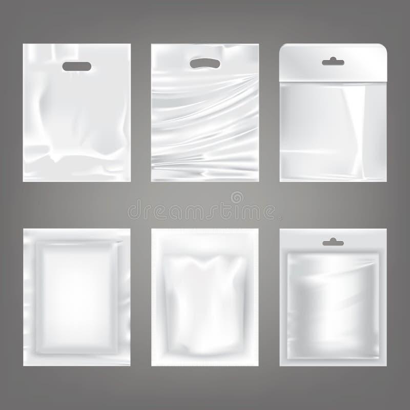 套白色塑料空的袋子的传染媒介例证,包装 皇族释放例证