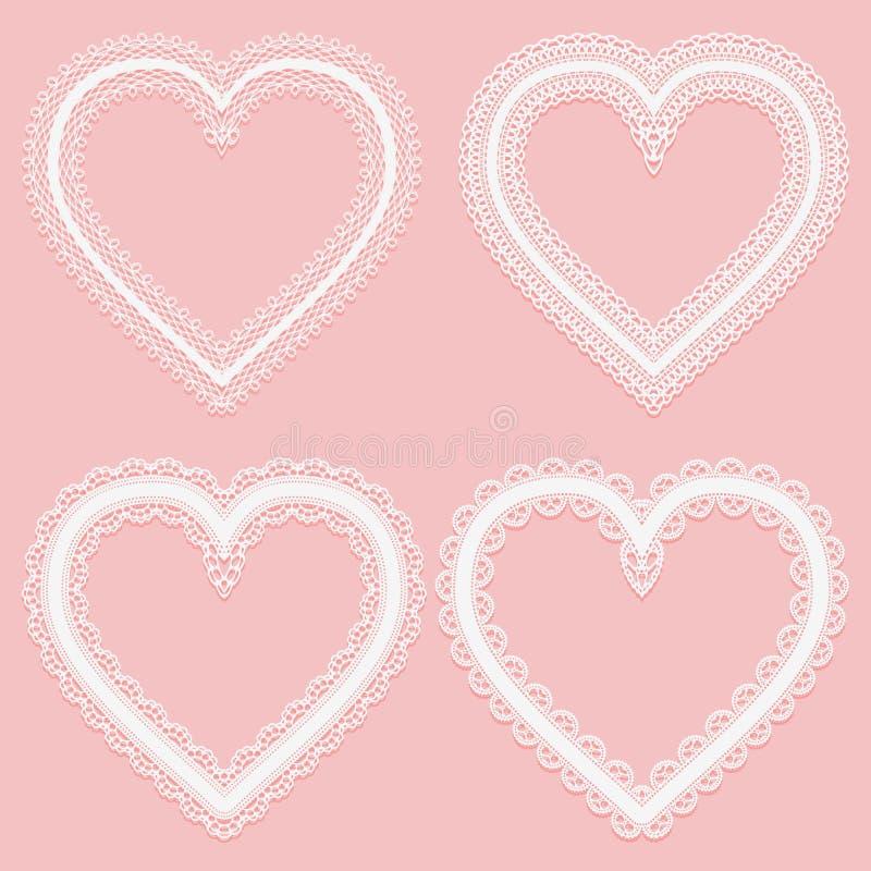 套白色宽鞋带丝带框架以心脏的形式 皇族释放例证