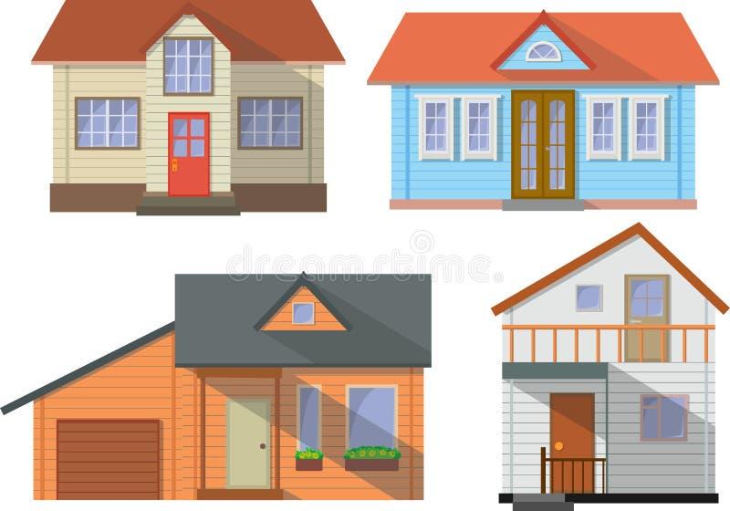 套白色背景的色的村庄家庭房子在平的样式 也corel凹道例证向量 库存例证