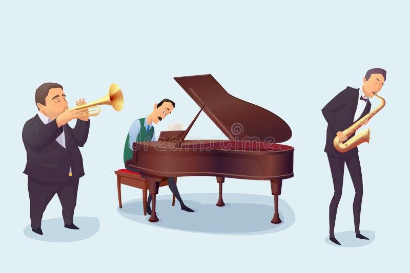套白色背景的音乐家 萨克斯管吹奏者,钢琴演奏家,号手 动画片样式 皇族释放例证