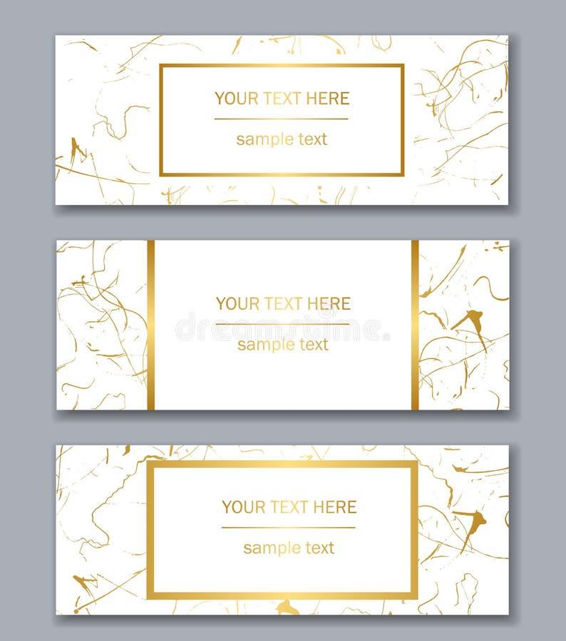 套白色,黑和金横幅模板 抽象现代 皇族释放例证