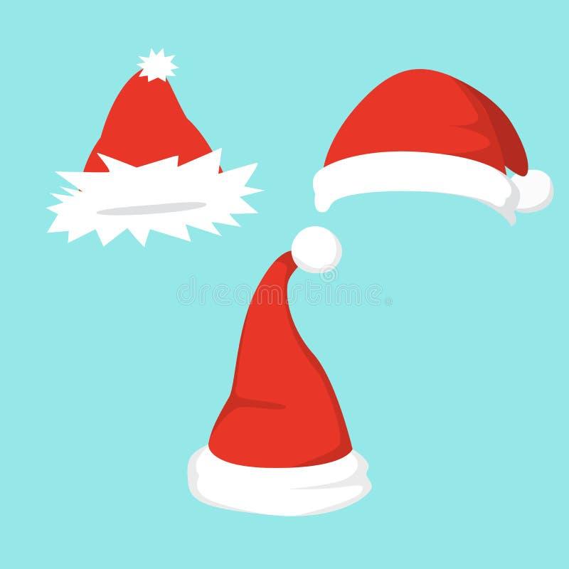 套的传染媒介例证在动画片设计的圣诞老人帽子 向量例证
