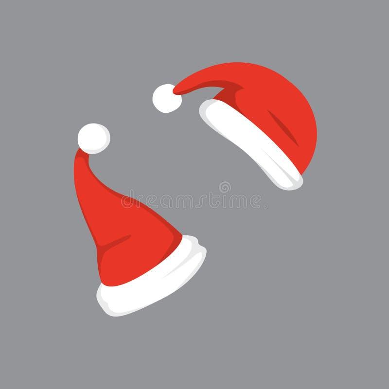 套的传染媒介例证在动画片设计的圣诞老人帽子 库存例证