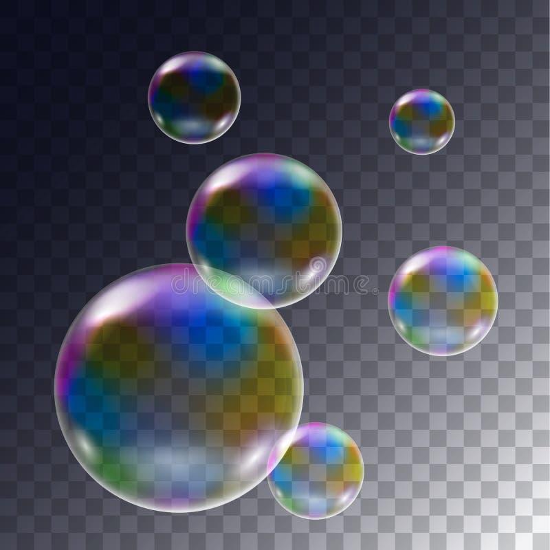 套的现实例证飞行彩虹在透明背景,传染媒介的肥皂泡 库存例证
