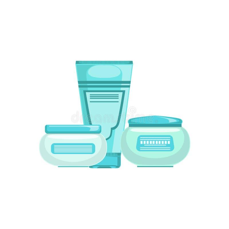 套皮肤问题治疗的专业皮肤病学的Skincare化妆用品线与两提取乳脂和化妆水 皇族释放例证