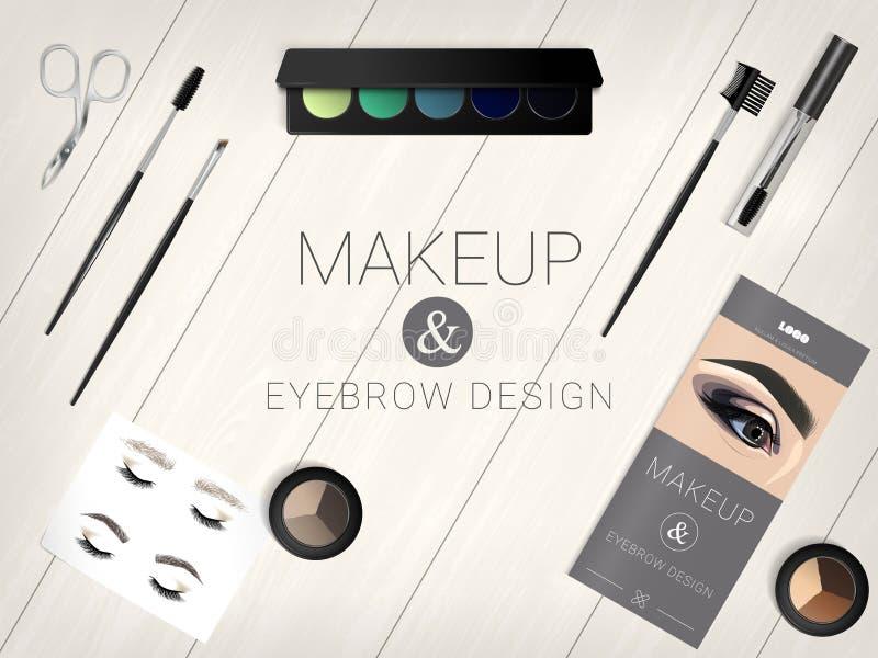 套眼眉的化妆辅助部件和构成设计 皇族释放例证