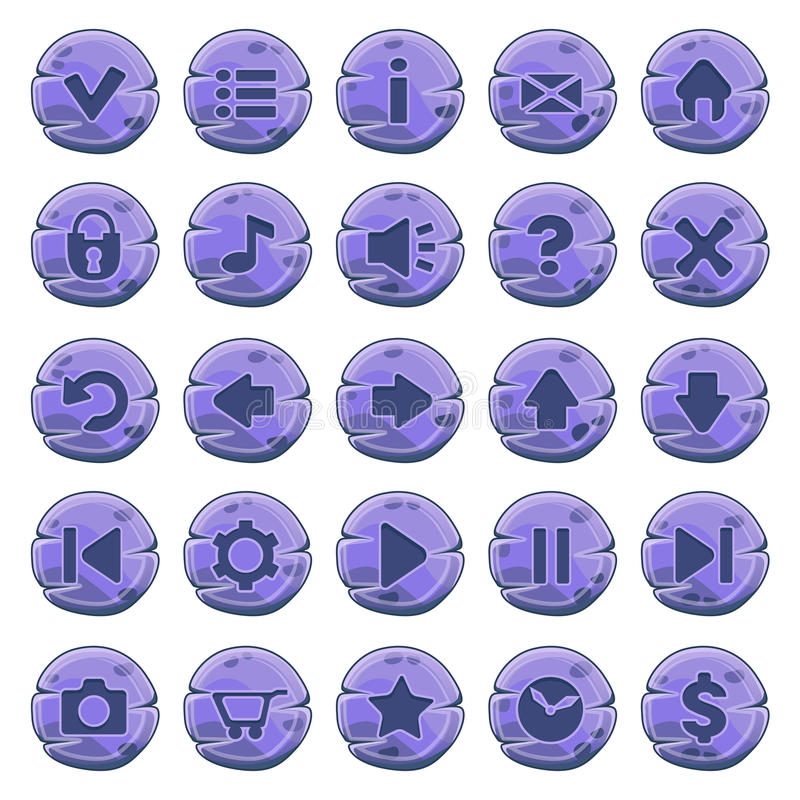 套石圆的按钮 皇族释放例证
