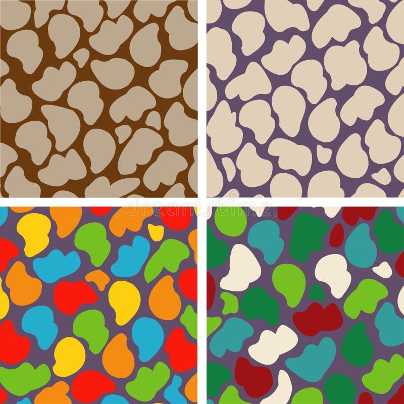 套石头的四个无缝的样式 向量例证