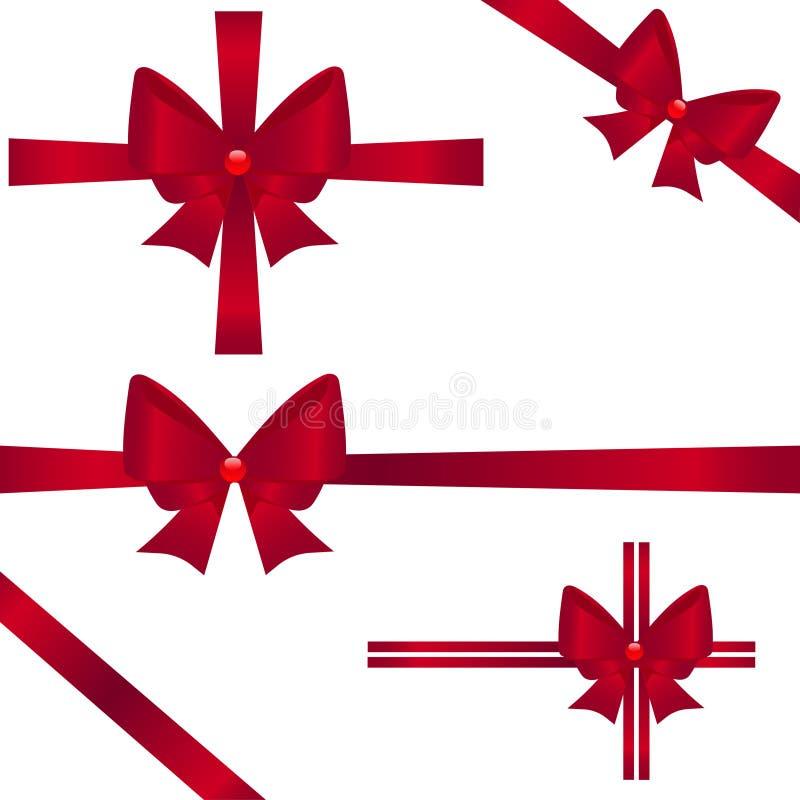 套礼物的红色丝带在白色背景 也corel凹道例证向量 向量例证