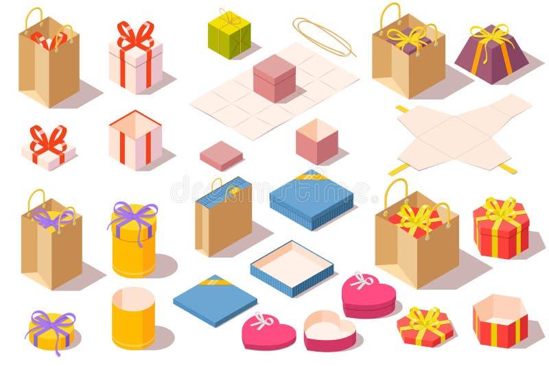 套礼物盒 在白色背景隔绝的被打开的和结束的五颜六色包装 等量传染媒介例证 皇族释放例证