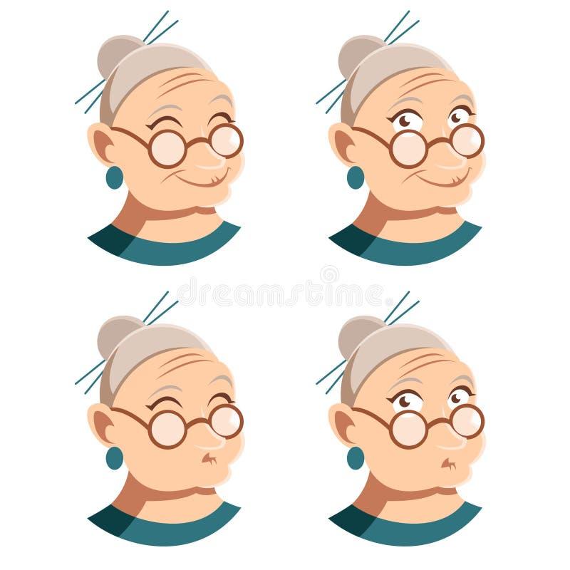 套祖母面孔象 皇族释放例证