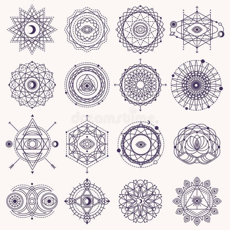 套神圣的几何标志 库存例证