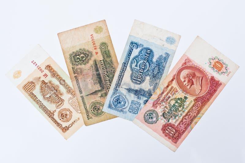 套票据苏联卢布金钱,大约1961-1991 库存图片