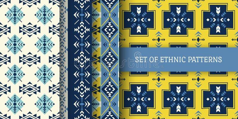 套种族无缝的样式 阿兹台克,当地美洲印第安人o 向量例证