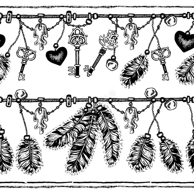 Download 套种族羽毛 在当地样式的种族无缝的样式 与羽毛的与垂饰的边界和条纹 向量例证 - 插画 包括有 嬉皮, 线路: 72362443