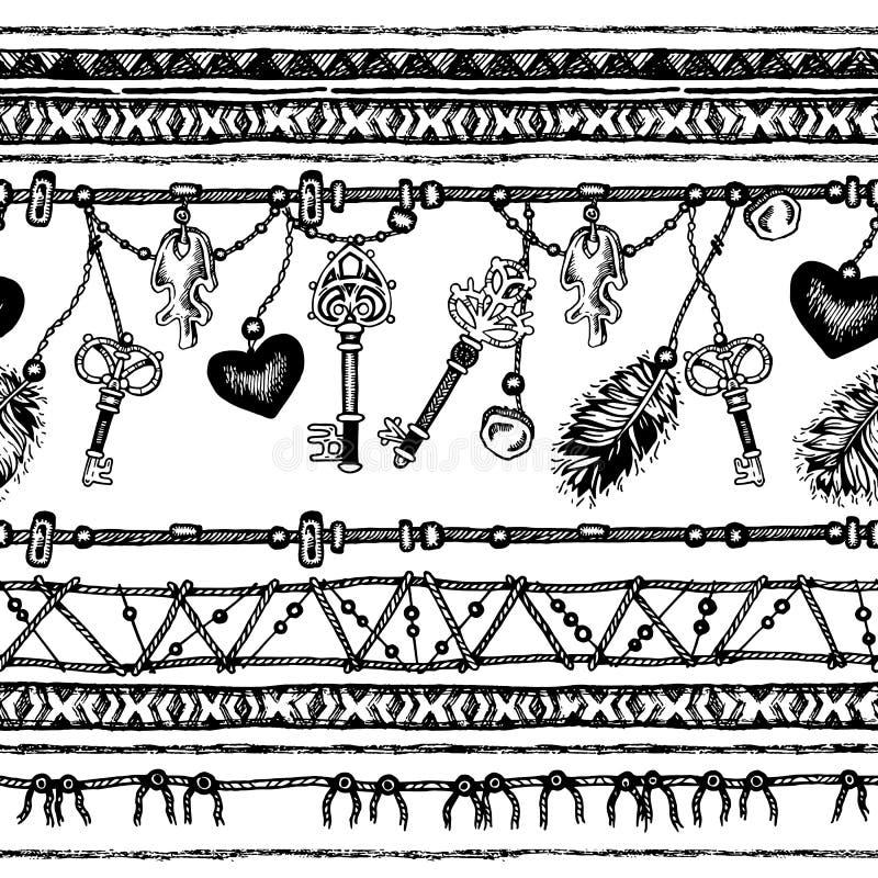 Download 套种族羽毛 在当地样式的种族无缝的样式 与羽毛的与垂饰的边界和条纹 向量例证 - 插画 包括有 线路, 羽毛: 72362799