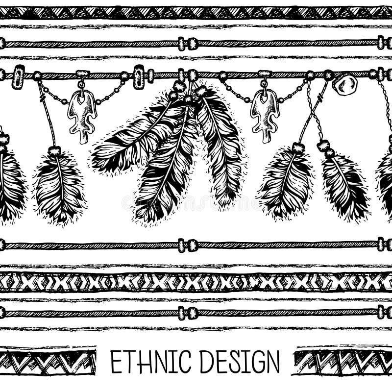 Download 套种族羽毛 在当地样式的种族无缝的样式 与羽毛的与垂饰的边界和条纹 向量例证 - 插画 包括有 嬉皮, 礼品: 72363894