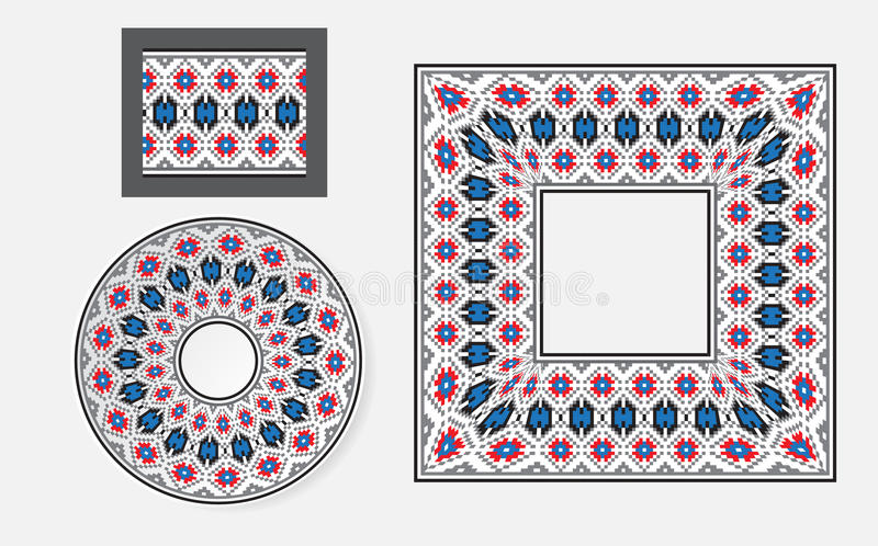 套种族装饰品样式刷子 库存例证