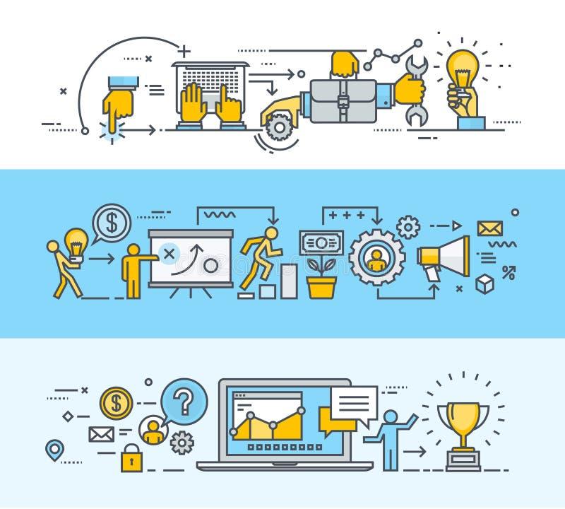 套稀薄的线事务和行销的平的设计观念横幅 向量例证