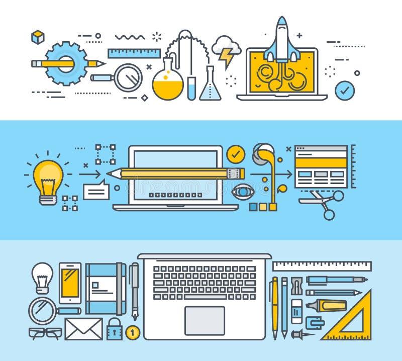 套稀薄的线图形设计、网络设计和设计工具的平的设计观念 皇族释放例证