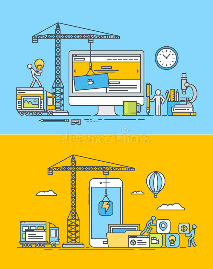 套稀薄的线网平的设计观念和流动站点和apps 库存例证