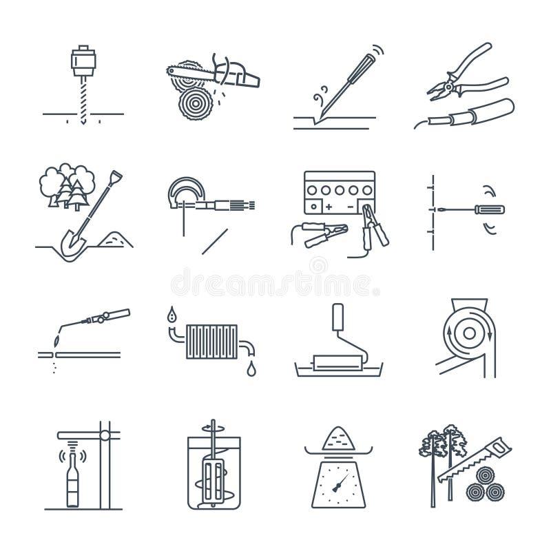 套稀薄的线象工具和设备,测量设备 库存例证