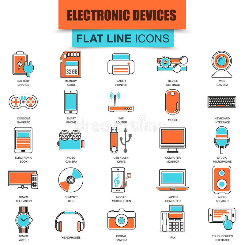 套稀薄的线象计算机电子和多媒体设备 库存例证
