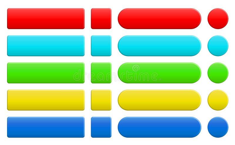 套空白的五颜六色的互联网按钮 皇族释放例证