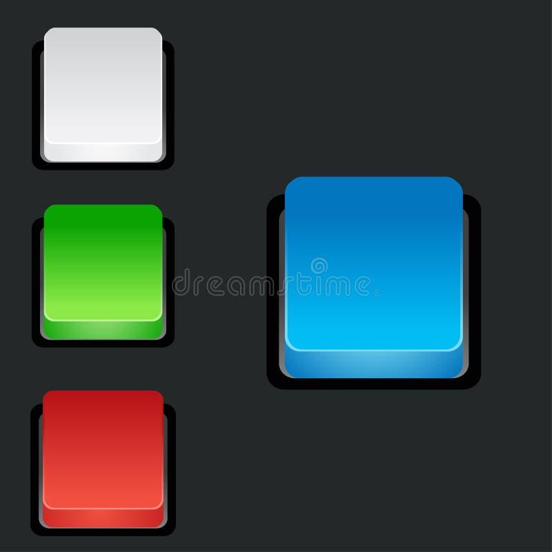 套空白的五颜六色的3d正方形按钮 库存例证