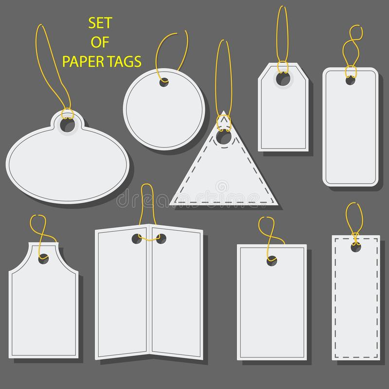 套空白的白皮书标记,标签,与条形码的贴纸 不同的形状的被隔绝的元素 平的设计 库存例证